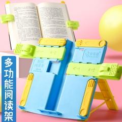 金值 多功能儿童阅读架小学生用读书架简易书夹书靠书立桌面看书放书神器固定支架书撑K-5蓝色