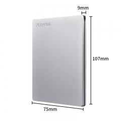 东芝(TOSHIBA) 1TB USB3.0 移动硬盘 Slim系列 2.5英寸 兼容Mac 金属超薄 密码保护 轻松备份 高速传输 银色