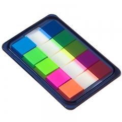 齐心(Comix)D7011EC 荧光膜指示标签/便签条/便利贴/百事贴 3个装 (44x12mm)20张*5色