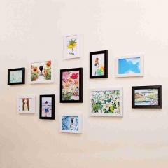 晨色 照片墙 仿实木11框 黑白组合挂墙装饰画  带画芯 CS2026