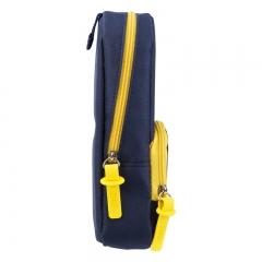得力(deli)大容量笔袋创意书包款铅笔收纳袋/吸铁站立式 深海蓝66759
