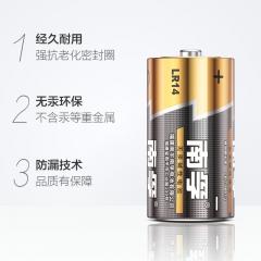 南孚(NANFU)2号碱性电池2粒 大号电池 适用于收音机/遥控器/手电筒/玩具/热水器等 LR14-2B