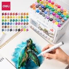 得力(deli)双头马克笔套装60色 手绘广告设计动漫画画创作学生儿童美术生专用绘画美术用品填色笔 70802-60
