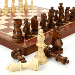 lusty 国际象棋大号棋盘可折叠实木棋子内嵌式入门训练比赛