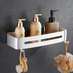 洁比世 免打孔太空铝新款长方形置物架 可移动挂钩卫生间浴室置物架
