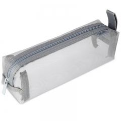 得力(deli)大容量方型笔袋/尼龙网纱包袋/手提铅笔收纳袋 格调灰66747
