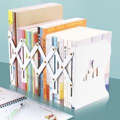 猫太子(MAOTAIZI)书立创意可伸缩书立学生用桌上简易书靠收纳放书架折叠书立书夹书挡镂空鹿(无印刷)白色