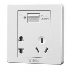 公牛(BULL) 开关插座 G07系列 五孔带USB接口插座 86型面板G07E335 白色 暗装