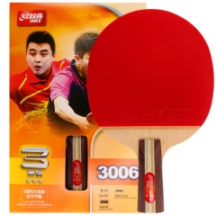 红双喜DHS乒乓球拍 直拍双面反胶攻守平衡型3星R3006(单块装 )