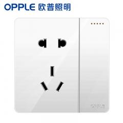 欧普照明(OPPLE)开关插座面板家用暗装墙壁一开单+五孔纯平圆角86型墙式开关 k12白色 一开单+五孔
