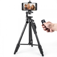 云腾(YUNTENG)VCT-1368RM 手机蓝牙遥控三脚架 微单数码相机摄像机自拍用 优质铝合金超轻便携三角架黑色