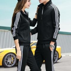 范迪慕 运动套装男秋冬女外套套装男青年休闲运动健身 FDM1803-男款黑色-外套两件套-3XL