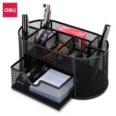 得力(deli)金属网办公桌面收纳盒 多功能九格组合笔筒 办公用品 黑色8902