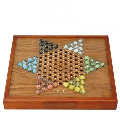 御圣跳棋 儿童跳棋大号木质棋盘亲子游戏棋 宫廷3玻璃棋子