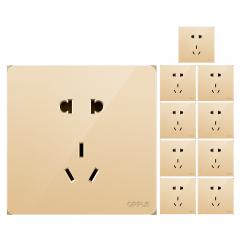 欧普照明(OPPLE)开关插座面板家用暗装墙壁五孔纯平圆角86型墙式开关 k12金色 五孔(十只装)