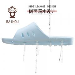 白猴 BAIHOU 侧漏水防滑按摩凉拖鞋女 T-1801 浅蓝38-39码