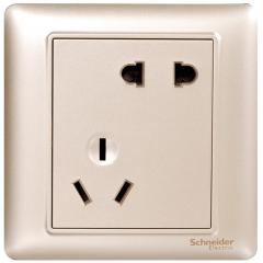 施耐德电气(Schneider Electric)开关插座 插座面板 10A斜五孔插座 睿意系列 金色A3E426_10UA_WG