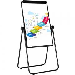 比比牛 白板支架式60*90cm 办公写字板双面可折叠升降可夹纸 U型黑色BBNS6090