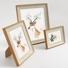 FOOJO 欧式相框 相片照片摆台挂墙两用 照片墙挂画  6寸木白色