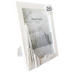 花间集 相框 7寸立体浮雕装饰ABS树脂简约风摆挂两用 城市剪影 象牙白