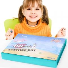 铭塔儿童绘画文具 198件套装画画板工具笔蜡笔水彩笔颜料美术铅笔 学生学习用品生日礼盒装
