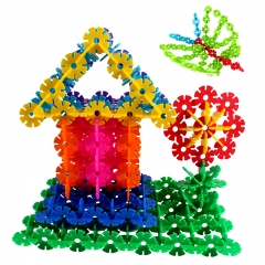 铭塔600片雪花片积木幼儿园启蒙早教教具 中号加厚塑料拼插装12色桶装