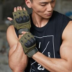 卡帝乐鳄鱼战术手套半指防割防滑登山运动军迷户外训练护具健身男士手套K83S677 军绿色 M