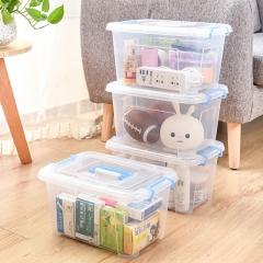 百草园 塑料便携式收纳盒保鲜盒 杂物收纳箱整理箱 10L 4个装