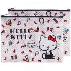 广博(GuangBo)2只装A5网格拉链文件袋/资料袋 凯蒂猫颜色随机KT88046
