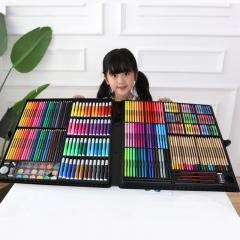 乐缔儿童绘画文具 258件实用绘画套装画画套装画笔蜡笔水彩笔美术画画工具 学生学习用品 绘画笔礼盒装彩色笔