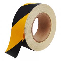趣行 黑黄斜纹反光条警示胶带 宽5cm长45米 消防安全警戒线隔离带标识 电线杆墙贴地板贴标志反光膜