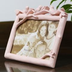 花间集 相框 婚纱照专用影楼摆台创意礼品 鸟之语7英寸横款 活力粉