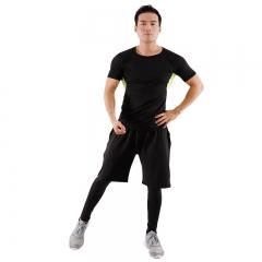 范迪慕 运动套装男士健身服紧身速干透气吸湿排汗跑步篮球套装健身衣男 FNZ9001-网布绿-短袖三件套-XXXL