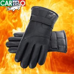 卡帝乐鳄鱼手套男冬季保暖加绒加厚防滑可触屏骑行皮手套C398C88381 黑 均码