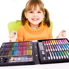 铭塔儿童绘画150件套装文具 画画板工具笔蜡笔水彩笔颜料美术铅笔 学生学习用品生日礼盒装