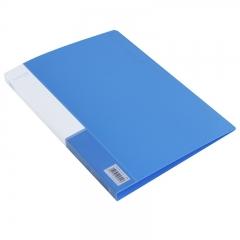 得力(deli)5301 实用文件夹 A4单强力夹+插袋 蓝色 单只装