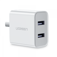 绿联 3.1A多口充电器通用华为苹果iPhone12/11/Xs小米11三星安卓手机iPad平板快充头5V2a双USB两口数据线插头