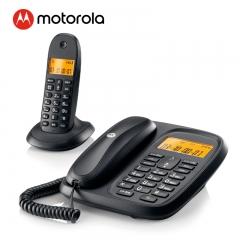 摩托罗拉(Motorola)数字无绳电话机 无线座机 子母机一拖一 办公家用 大屏幕 双清晰免提套装CL101C(黑色)