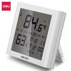 得力(deli)LCD带时间闹钟多功能电子温湿度计 办公用品 白色8958