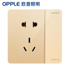 欧普照明(OPPLE)开关插座面板家用暗装墙壁一开单+五孔纯平圆角86型墙式开关 k12金色 一开单+五孔