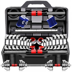 诚悦电镀哑铃杠铃30kg(15kg*2)男女士运动健身训练器材家用组合套装升级款赠护手+护腕+30厘米连接器CY-160
