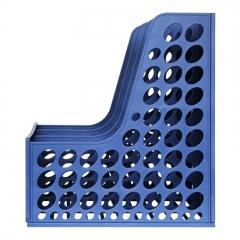 得力(deli)三联镂空桌面文件框 三栏带标签稳固文件栏/文件筐/资料框 蓝色