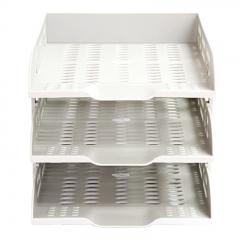 得力(deli)三层镂空超厚文件座 自由拆卸组装三层文件盘/文件框 牢固耐用 灰白色