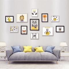 晨色 照片墙 仿实木大11框 黑白组合挂墙装饰画 卧室客厅玄关墙壁软饰画相框 带画芯 CS2026