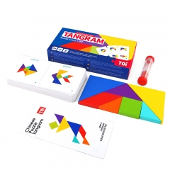 TOI儿童七巧板拼图玩具3-6岁早教开发英语卡片幼儿园教具