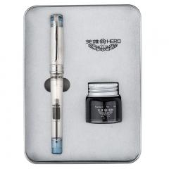 英雄(HERO)709心水透明铱金钢笔墨水礼盒学生套装透蓝