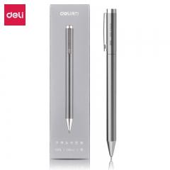 得力(deli)0.5mm金属旋转中性笔签字笔 银DL-S99