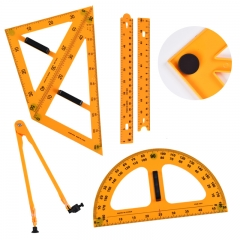 递乐 教学三角尺课堂演示教师节礼物用具直尺三角尺量角器三角板套装 教学圆规+教学尺套装磁性五件套  2642
