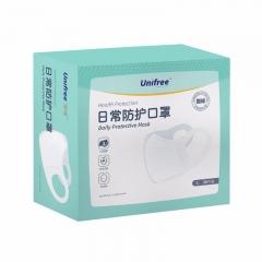 unifree一次性口罩透气防尘三层成人白色3D立体薄款透气大码防护口鼻罩 (30只)