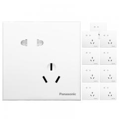 松下( Panasonic)开关插座面板 斜五孔插座面板 错位10A5孔大间距插座(10支套装)悦宸 白色